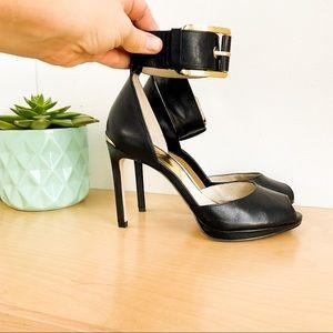 MICHAEL KORS Black Leather Ankle Heels